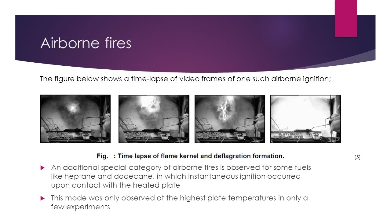 Airborne fires The figure below shows a time-lapse of video frames of one such airborne ignition; [5]